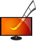 lcd monitor with film strip Royalty Free Stock Photo