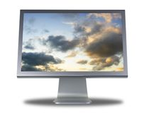 Lcd monitor flat screen. Computer lcd or tft monitor with flat screen Royalty Free Stock Images
