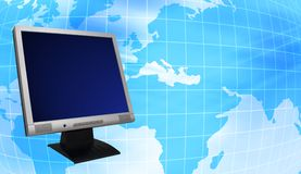 LCD Monitor with globe. Computer technology. World map - World globe World map and Lcd Monitor concept royalty free illustration