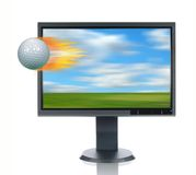 LCD Monitor and Glof Ball. LCD monitor and golf ball isolated over a white background Stock Photos