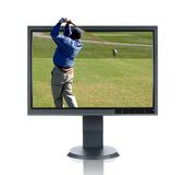 LCD Monitor and Golfer Royalty Free Stock Photo