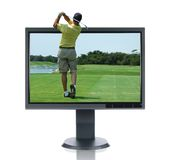 LCD Monitor and Golfer. Isolated over a white background Stock Photography