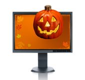 LCD Monitor and Halloween Stock Images