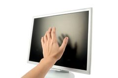 Lcd monitor and hand Royalty Free Stock Photos