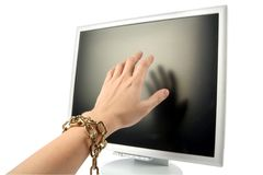 Lcd monitor and hand Stock Image