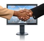 LCD Monitor and Handshake royalty free stock images
