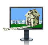 LCD Monitor and Home Ownership Stock Photo
