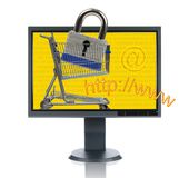 LCD Monitor And INternet Shopp. Ing isolated over a white background Stock Photo