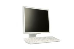 Lcd monitor and keyboard Royalty Free Stock Image