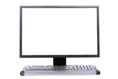 LCD monitor with keyboard Royalty Free Stock Photos