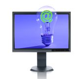 LCD Monitor and Light Bulb Stock Photos