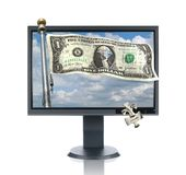 LCD Monitor and Money Royalty Free Stock Images