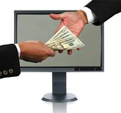 LCD Monitor and Money Exchange Royalty Free Stock Photo