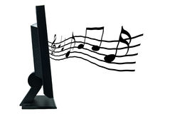 LCD monitor with musical notes Stock Image