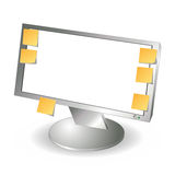 LCD monitor and post it notes Royalty Free Stock Photo