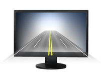 Lcd monitor with road forward. Royalty Free Stock Photography