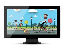LCD Monitor Screen with City Park Flat Landscape. Television Vector Illustration Stock Illustration
