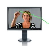 LCD Monitor Woman and Chart Stock Photography