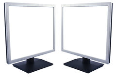 Lcd monitors. Two LCD monitors with empty space to put text Stock Photo