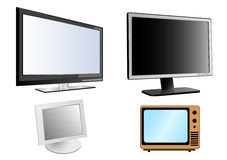LCD monitors. Detailed illustration of  LCD monitors and tv icons Royalty Free Stock Photography