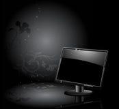 LCD paneel met bloemenachtergrond vector illustratie