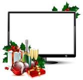 LCD paneel met Kerstmis vector illustratie