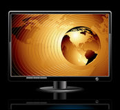 LCD panel. With world background, this  illustration may be useful  as designer work Royalty Free Stock Photo