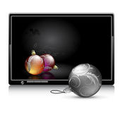 LCD panel with christmas balls Stock Image