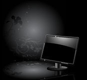 LCD panel with floral background Royalty Free Stock Images