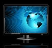 Lcd-Panel mit Welthintergrund stock abbildung