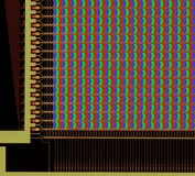 LCD panel structure. With pixels under microscope Royalty Free Stock Photos