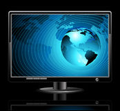 LCD panel with world background. This illustration may be use as designer work Stock Images