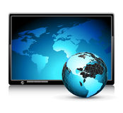 LCD panel with world background. This illustration may be use as designer work Stock Photography