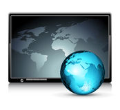 LCD panel with world background Stock Photography