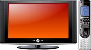 LCD piano moderno LED TV del plasma con telecomando Immagini Stock
