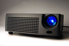 LCD projector. With light on Stock Photo