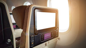 LCD rear seat on the plane. Closeup LCD rear seat on the plane technology for entertainment Stock Photography