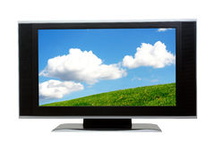 LCD screen. On white. Clipping path included for easy isolation.you may replace the reference image by using the clipping path.the image on the screen from my Royalty Free Stock Photo