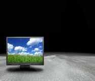 Lcd screen on an abstract planet Royalty Free Stock Photo