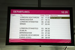 Lcd screen of departures at station or airport Stock Photos