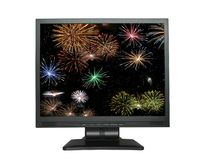 LCD screen with fireworks on white Stock Image