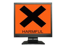 LCD screen with harmful sign. Isolated on white background Royalty Free Stock Photo