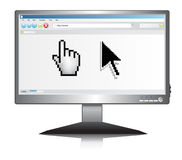 Lcd screen with Internet browser with pointer Royalty Free Stock Photos