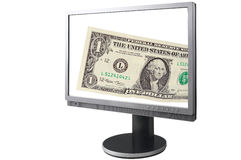 LCD Screen With Banknote Stock Image