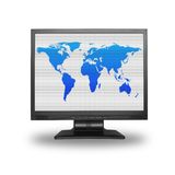 Lcd screen with world map. Lcd screen with colorful world map, - the image on the screen has a clearly visible net simulating display pixels Stock Photos