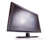 LCD T.V. Widescreen black LCD TV isolated on white Angel Stock Images