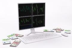 LCD, teclado, ratón, dólares y euros blancos 3d Imagen de archivo libre de regalías