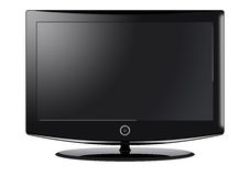 LCD Television. A computer illustration of a black widescreen TV Royalty Free Stock Photography