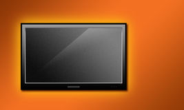 LCD television. LCD TV set hanged on a orange painted wall stock illustration