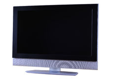 LCD television set. Silver and black LCD TV set isolated on white background Stock Photography